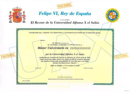 Título oficial de la Universidad Alfonso X El Sabio